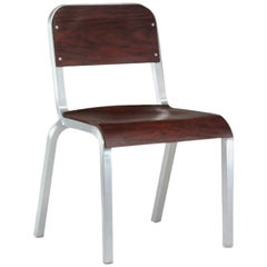 Emeco 1951 Stacking Chair in Brushed Aluminum & Mahogany by Adrian Van Hooydonk