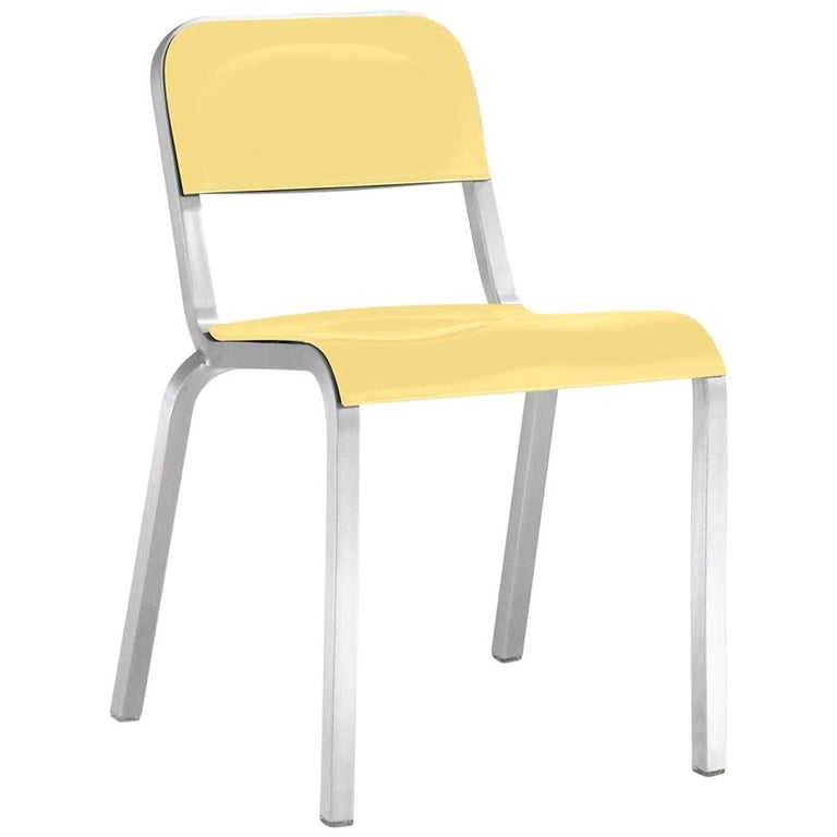Emeco 1951™ Stacking Chair in Brushed Aluminum & Yellow by Adrian Van Hooydonk For Sale