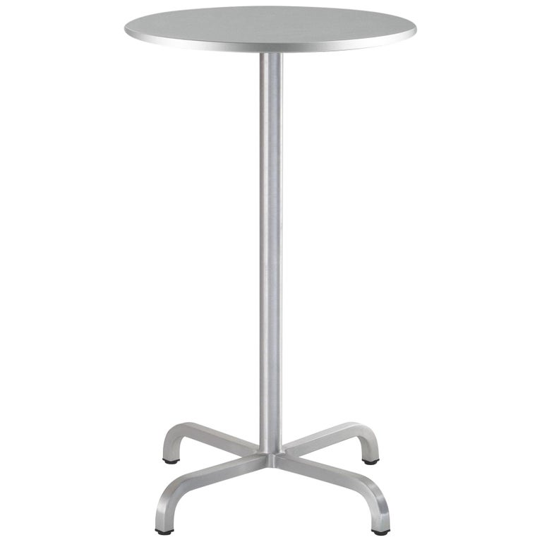 Emeco 20 06 Small Round Bar Table With Gray Laminate Top By Norman Foster For