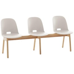 Emeco Alfi 3-Seat Bench in White and Ash with High Back by Jasper Morrison