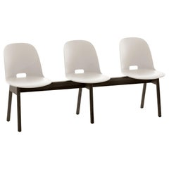 Emeco Alfi 3-Seat Bench in White and Dark Ash with High Back by Jasper Morrison