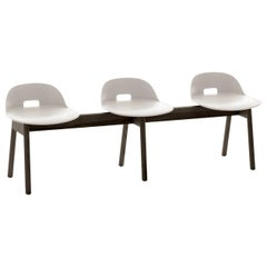 Emeco Alfi 3-Seat Bench in White and Dark Ash with Low Back by Jasper Morrison