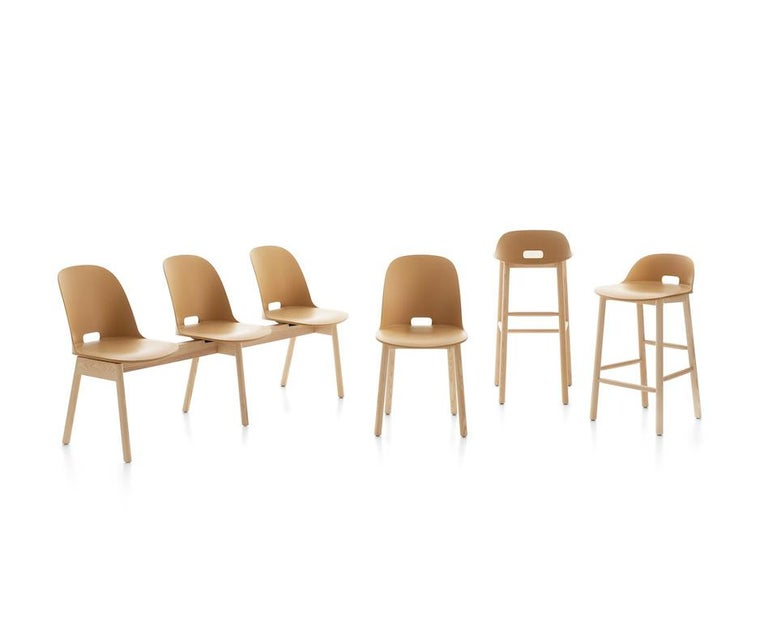Modern Emeco Alfi Barstool in Brown and Dark Ash with Low Back by Jasper Morrison For Sale