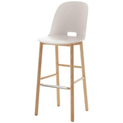 Emeco Alfi Barstool in White and Ash with High Back by Jasper Morrison