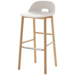 Emeco Alfi Barstool in White and Ash with Low Back by Jasper Morrison