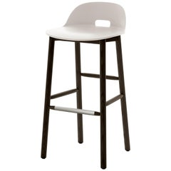 Emeco Alfi Barstool in White and Dark Ash with Low Back by Jasper Morrison