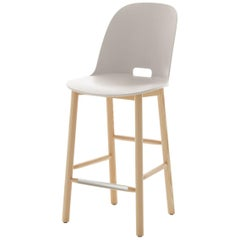 Emeco Alfi Counter Stool in White and Ash with High Back by Jasper Morrison