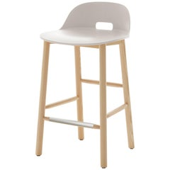 Emeco Alfi Counter Stool in White and Ash with Low Back by Jasper Morrison