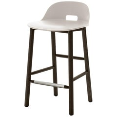 Emeco Alfi Counter Stool in White and Dark Ash with Low Back by Jasper Morrison