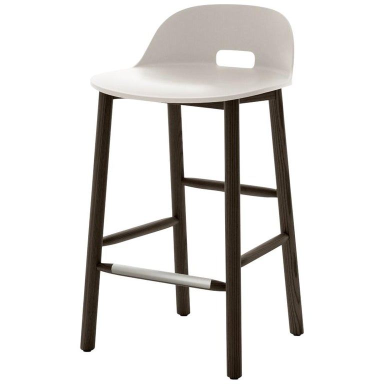 Emeco Alfi Counter Stool in White and Dark Ash with Low Back by Jasper Morrison For Sale