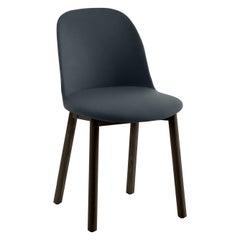 Emeco Alfi High Back Blue Polyester Chair with Dark Ash Frame by Jasper Morrison