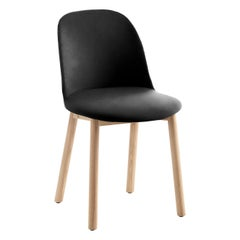 Emeco Alfi High Back Chair in Black Leather with Natural legs by Jasper Morrison