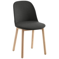 Emeco Alfi High Back Chair in Black Wool with Natural Frame by Jasper Morrison