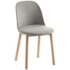 Emeco Alfi High Back Chair in Grey Wool with Natural Frame by Jasper Morrison