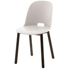Emeco Alfi High Back Chair in White with Dark Ashwood Base by Jasper Morrison