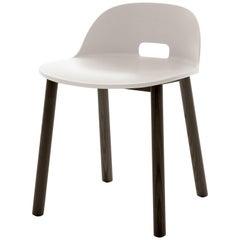 Emeco Alfi Low Back Chair in White with Dark Ashwood Base by Jasper Morrison
