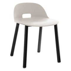 Emeco Alfi Low Back Chair with Black Powder-Coated Aluminum Frame by Jasper
