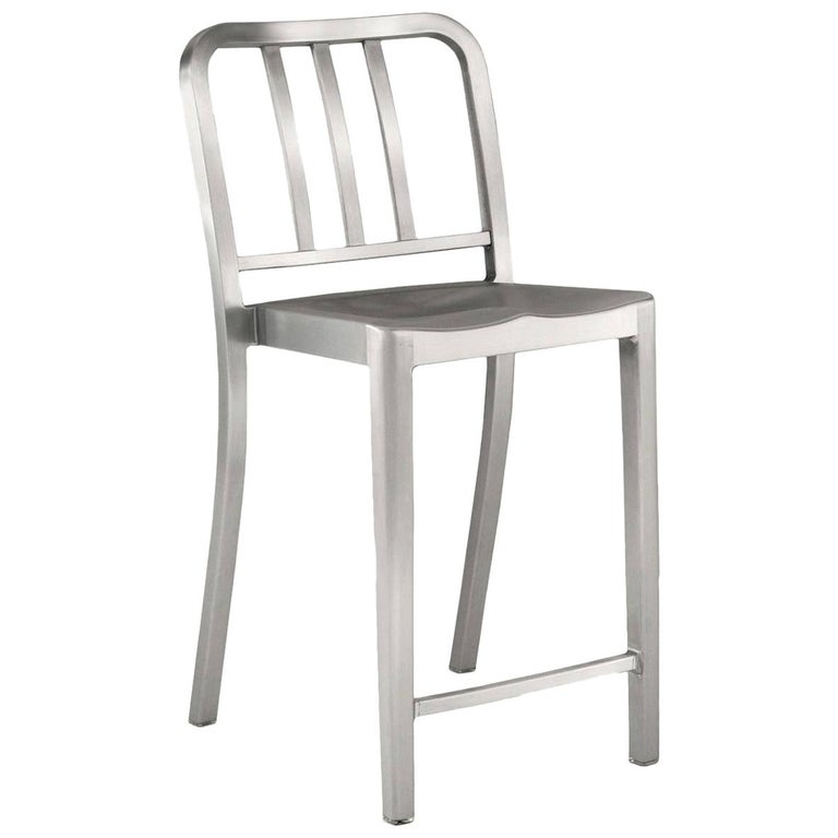 Emeco Heritage Counter Stool in Brushed Aluminum by Philippe Starck For Sale