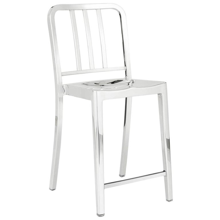 Emeco Heritage Counter Stool in Polished Aluminum by Philippe Starck For Sale