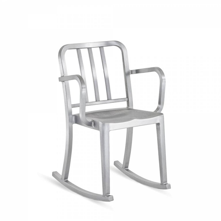 "Heritage is a stacking chair designed by Philippe Starck, inspired by the original 1006 Navy. The rocking version was designed for the world famous Bon restaurant in Paris. Intended as a ""sit up"" chair for working and dining, it's a symbol of"