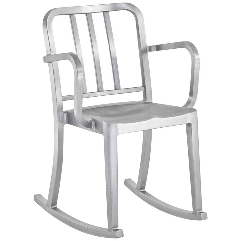 Emeco Heritage Rocking Armchair in Brushed Aluminum by Philippe Starck For Sale