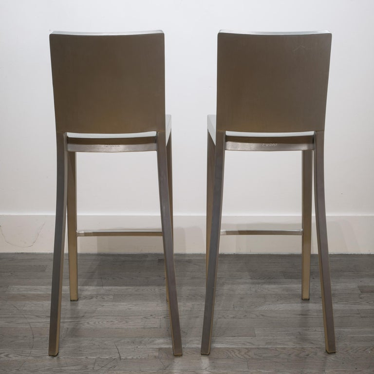 Brushed Emeco Hudson Bar Stools by Philippe Starck For Sale