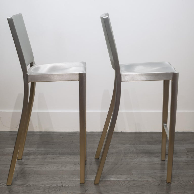 Emeco Hudson Bar Stools by Philippe Starck In Good Condition For Sale In San Francisco, CA