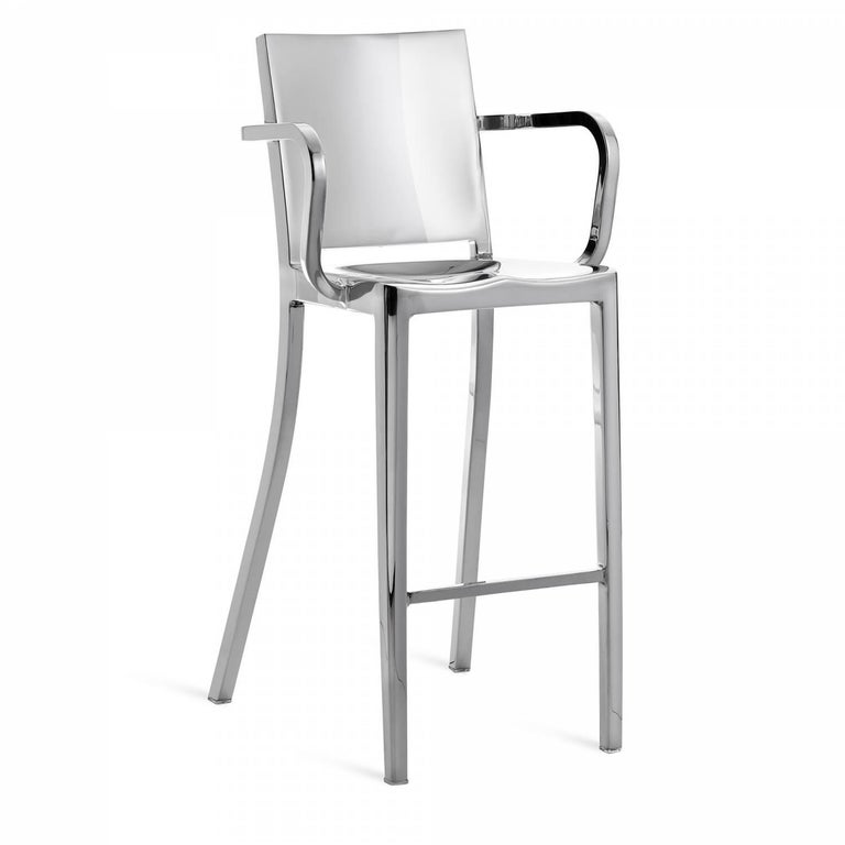 """The Hudson, designed for the Hudson hotel in NYC, is Emeco and Starck's first collaboration. Starck described the chair as """"washing the details from the Navy Chair"""". It takes an additional 8 hours to polish each Hudson chair. Hudson is in MoMa's"""