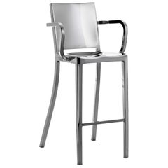 Emeco Hudson Barstool w/ Arms in Polished Aluminum by Philippe Starck