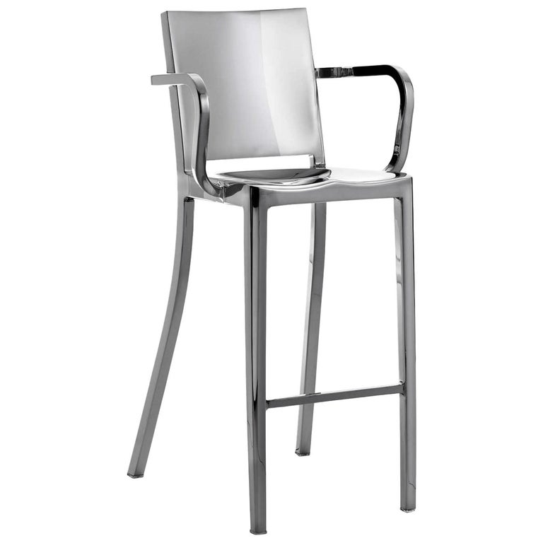 Emeco Hudson Barstool w/ Arms in Polished Aluminum by Philippe Starck For Sale