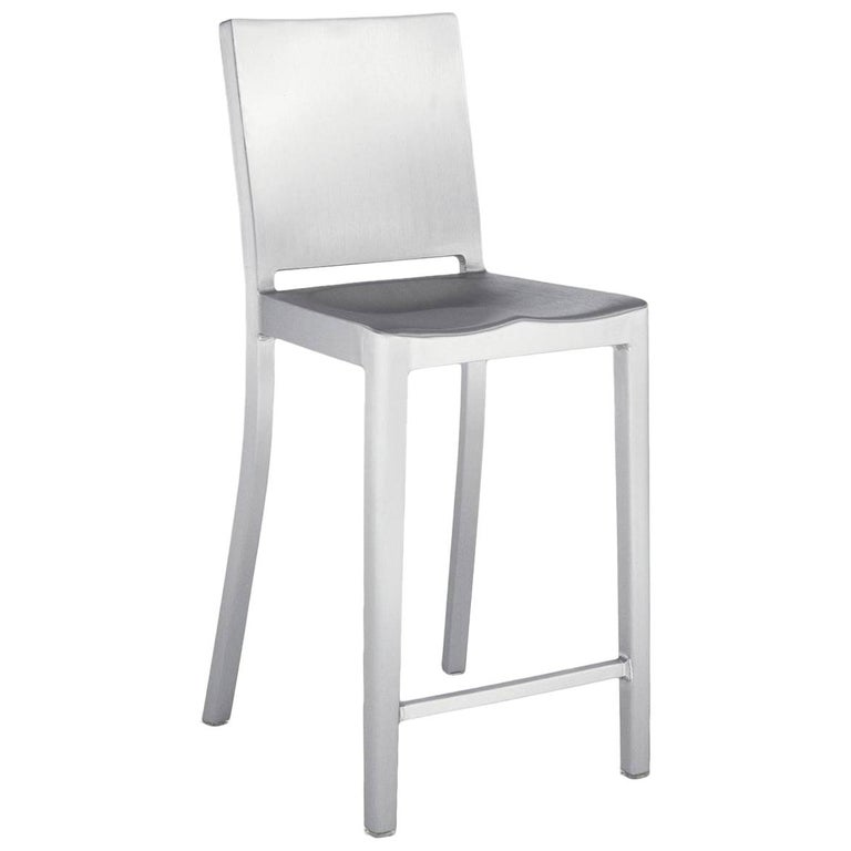 Emeco Hudson Counter Stool in Brushed Aluminum by Philippe Starck For Sale