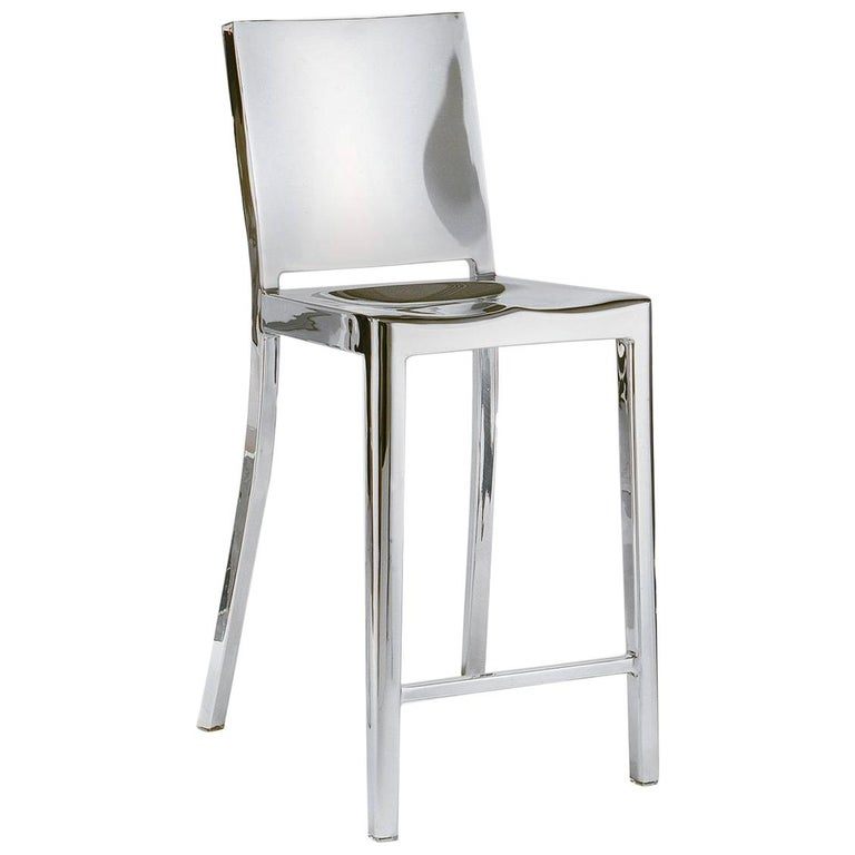 Emeco Hudson Counter Stool in Polished Aluminum by Philippe Starck For Sale