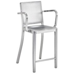 Emeco Hudson Counter Stool with Arms in Brushed Aluminum by Philippe Starck