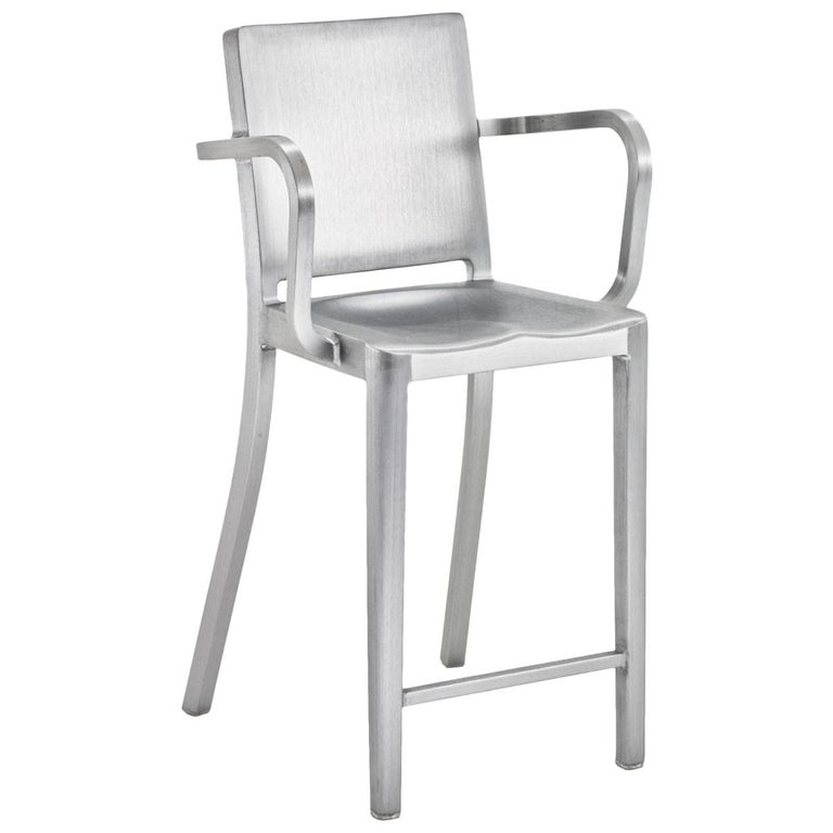 Emeco Hudson Counter Stool With Arms In Brushed Aluminum