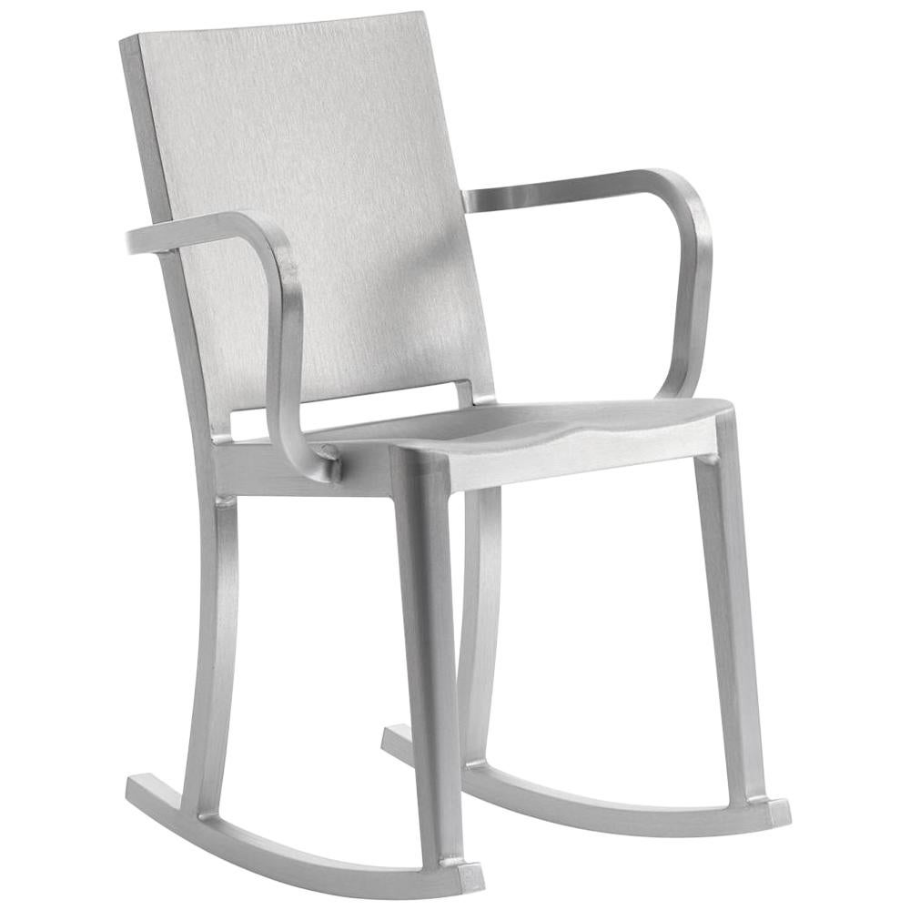 Emeco Hudson Rocking Chair with Arms in Brushed Aluminum by Philippe Starck
