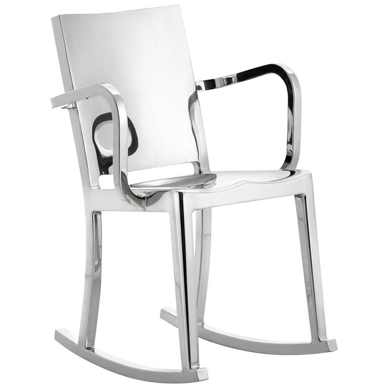 Emeco Hudson Rocking Chair with Arms in Polished Aluminum by Philippe Starck For Sale