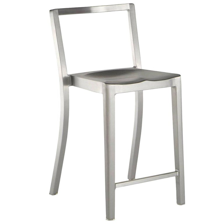 Emeco Icon Counter Stool in Brushed Aluminum by Philippe Starck For Sale