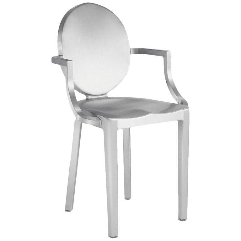 Emeco Kong Armchair in Brushed Aluminum by Philippe Starck For Sale