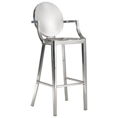Emeco Kong Barstool w/ Arms in Polished Aluminum by Philippe Starck
