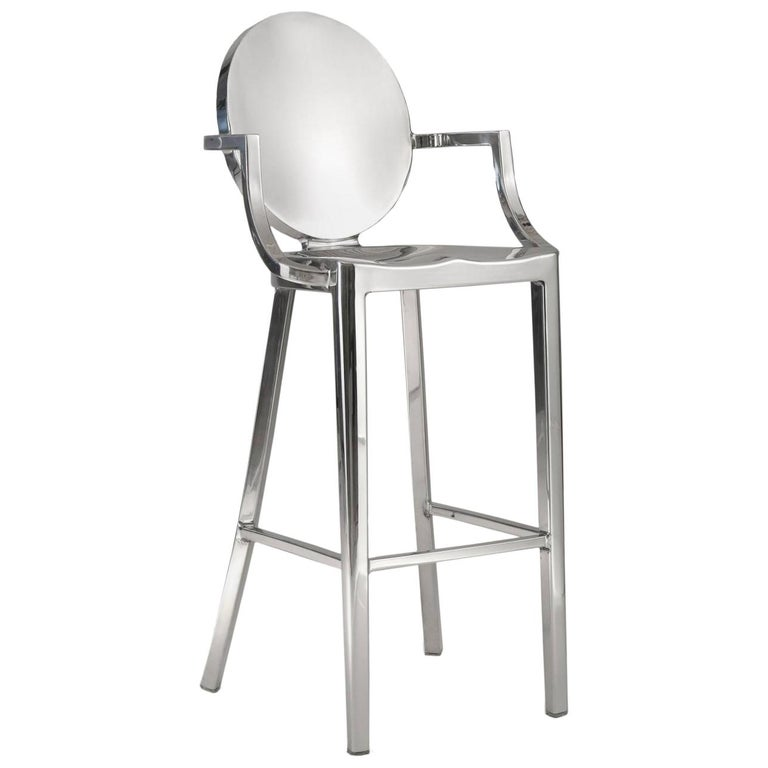 Emeco Kong Barstool w/ Arms in Polished Aluminum by Philippe Starck For Sale
