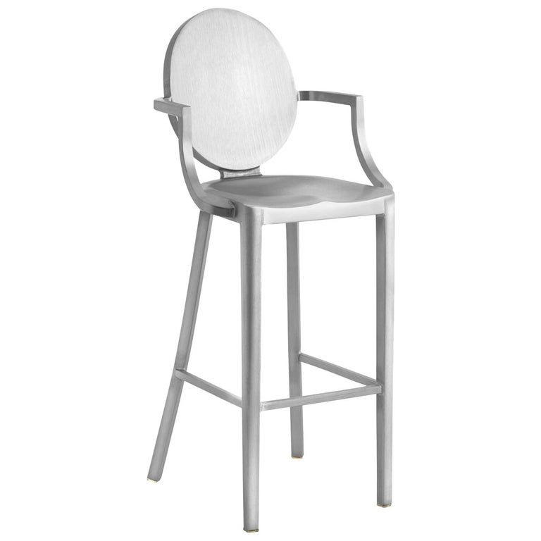Emeco Kong Barstool with Arms in Brushed Aluminum by Philippe Starck For Sale