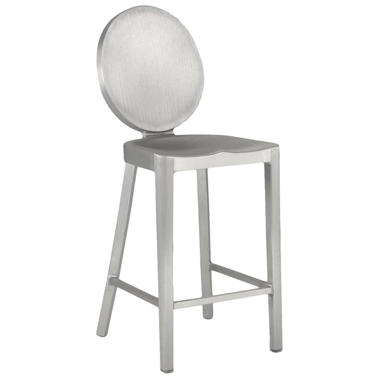 Emeco Kong Counter Stool in Brushed Aluminum by Philippe Starck For Sale