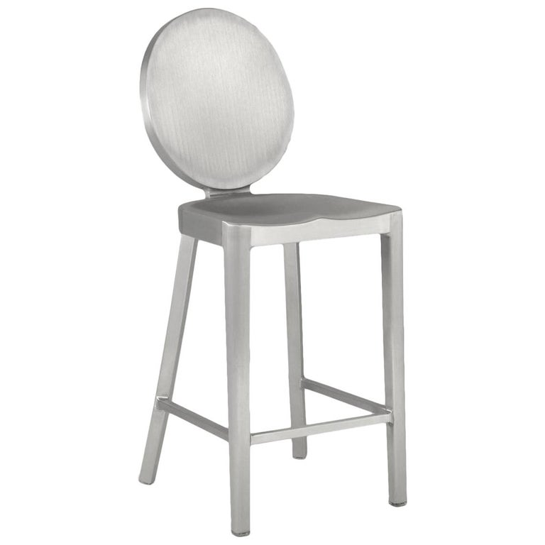 Emeco Kong Counter Stool in Polished Aluminum by Philippe Starck For Sale