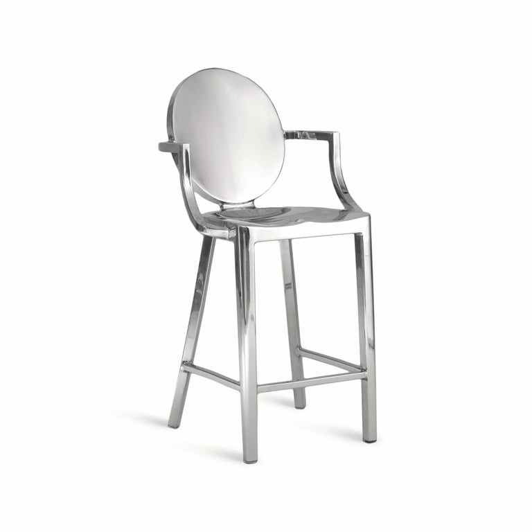 Starck first designed the Kong barstool for the Chinese restaurant Kong in Paris. The one armed stool was intended to make it easy and graceful for the super model clientele to slither in and out of the bar. Kong requires the hand welding of 24