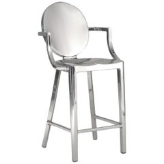 Emeco Kong Counter Stool with Arms in Brushed Aluminum by Philippe Starck