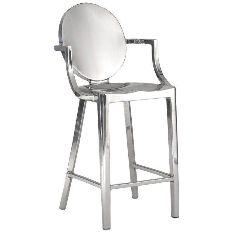 Emeco Kong Counter Stool with Arms in Brushed Aluminum by Philippe Starck For Sale
