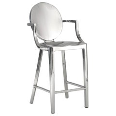 Emeco Kong Counter Stool with Arms in Polished Aluminum by Philippe Starck