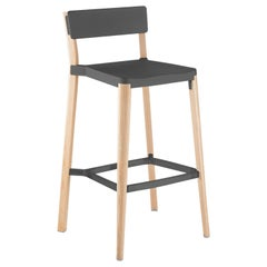 Emeco Lancaster Barstool in Dark Gray Aluminum and Ash by Michael Young
