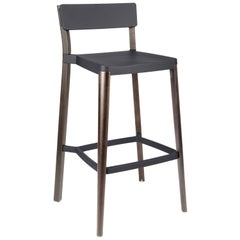 Emeco Lancaster Barstool in Dark Gray Aluminum and Dark Ash by Michael Young