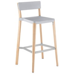Emeco Lancaster Barstool in Light Gray Aluminum and Ash by Michael Young